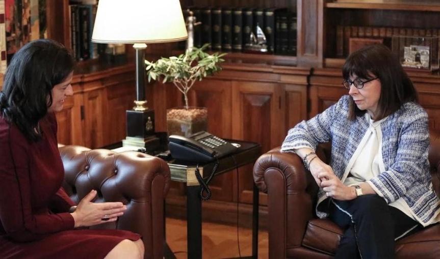 Συνάντηση της Υπ. Παιδείας Ν. Κεραμέως με την Π.τ.Δ. ΚατερίναΣακελλαροπούλου